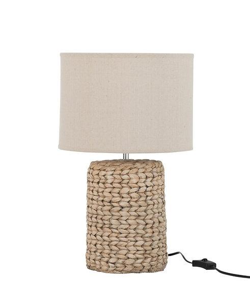 Lampvoet+kap dik vlecht beton/katoen naturel s