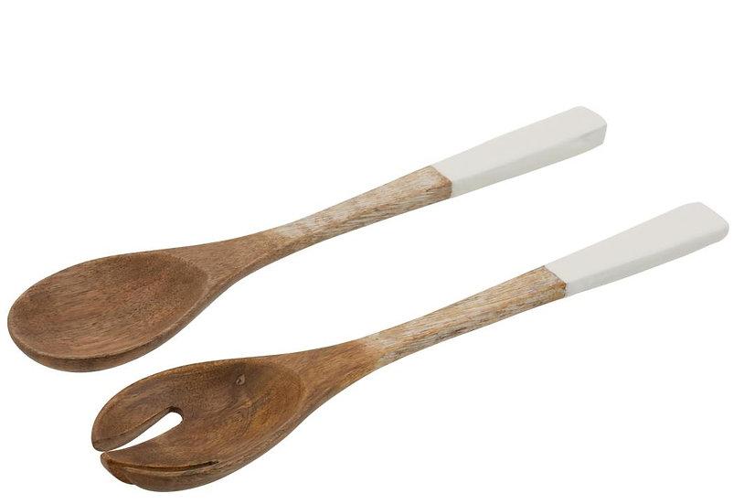 Set 2 keukengerei mango hout wit