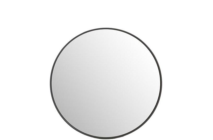 Spiegel rond hout donker bruin medium