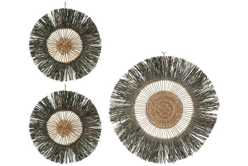 Set van 3 wanddecoratie rond riet raffia grijs