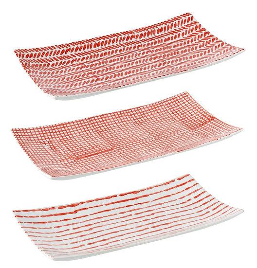 Schaal print porselein rood/wit assortiment van 3