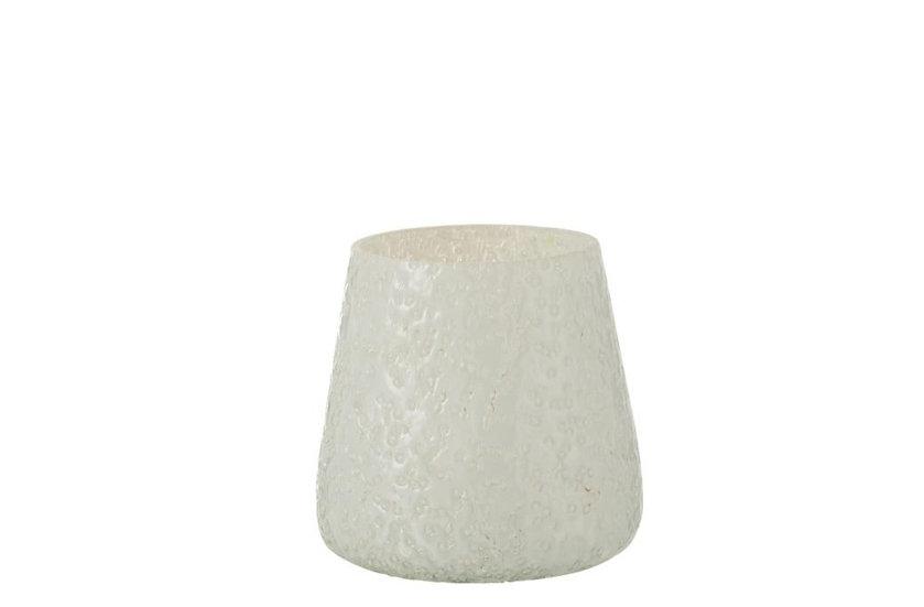 Windlicht relief glas wit