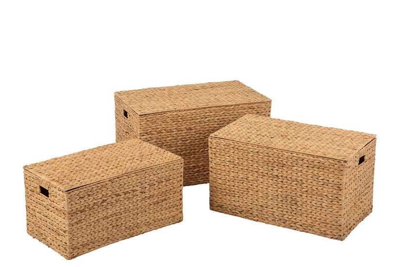 Set van 3 manden rechthoekig waterhyacint naturel
