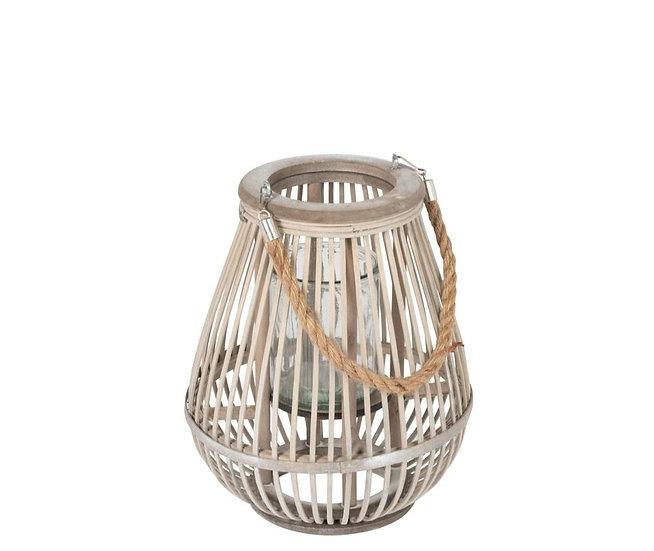 Lantaarn peervorm bamboo grijs small