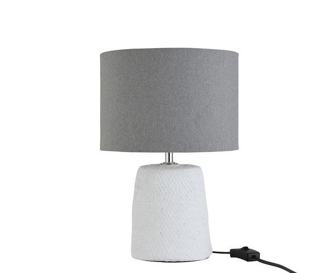 Lamp voet+kap fijn vlecht beton/katoen wit small