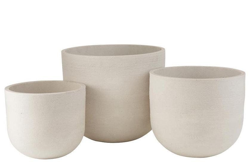 Set van 3 bloempotten rond keramiek hoog wit