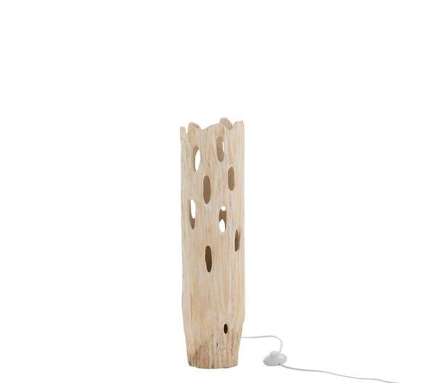 Tafellamp stam gaten paulownia hout wit