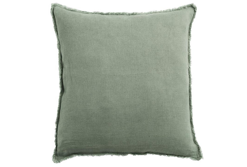 Kussen stonewashed linnen grijs groen