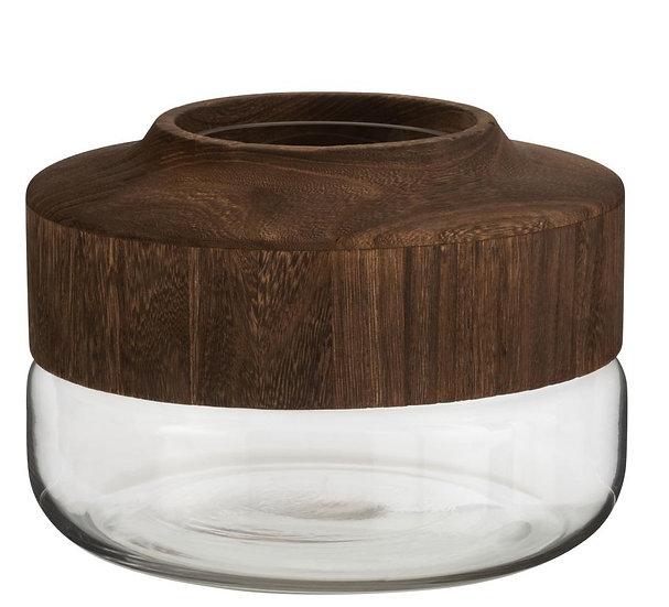 Vaas breed laag hout/glas donkerbruin
