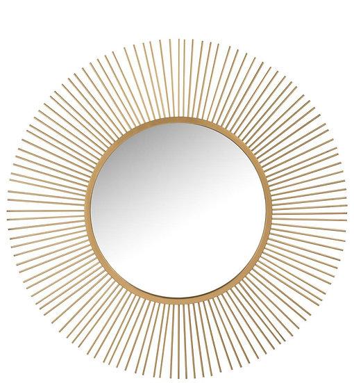 Spiegel spijlen rond metaal/glas mat goud