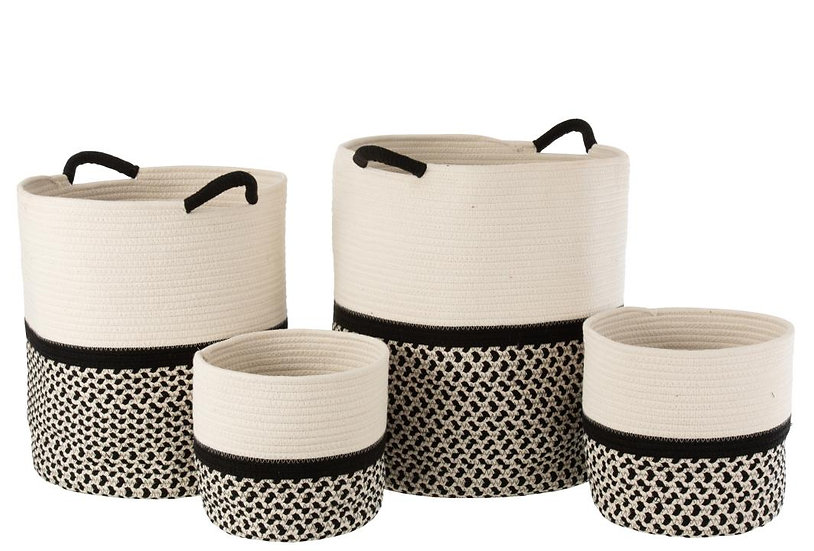 Set van 4 manden katoen touw ecru/zwart