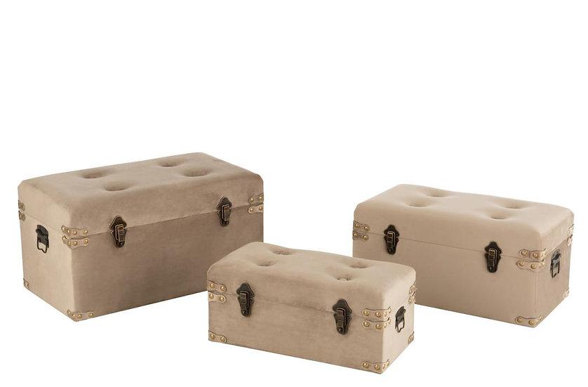 Set van 3 koffers hoog velvet beige large