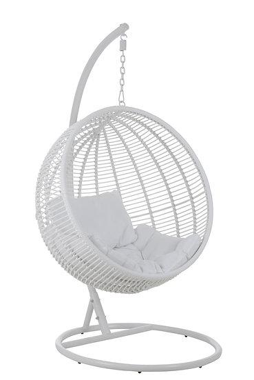Hangstoel rond staal wit