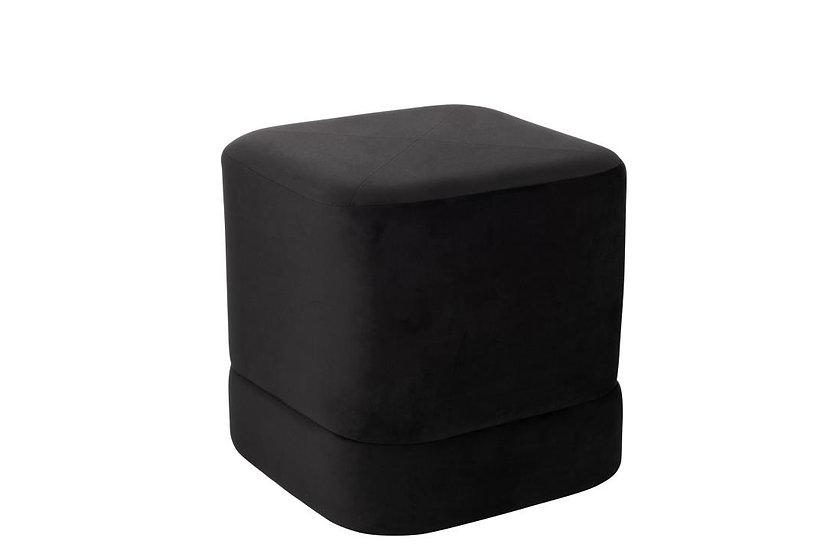 Poef vierkant hoog velvet zwart