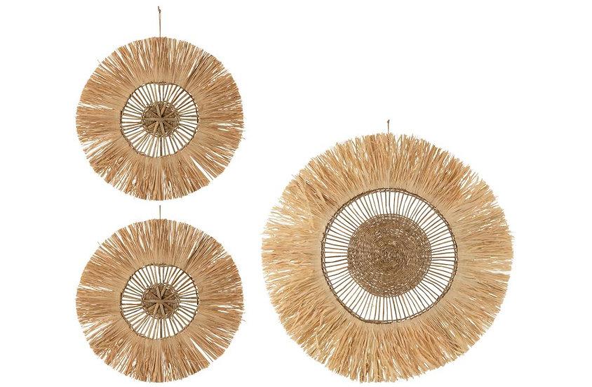 Set van 3 wanddecoratie rond riet raffia naturel
