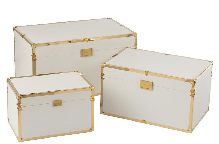 Set van 3 koffers rechthoek hout wit/goud