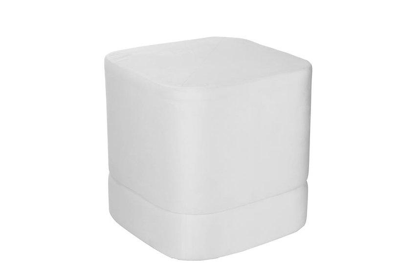 Poef vierkant hoog velvet wit