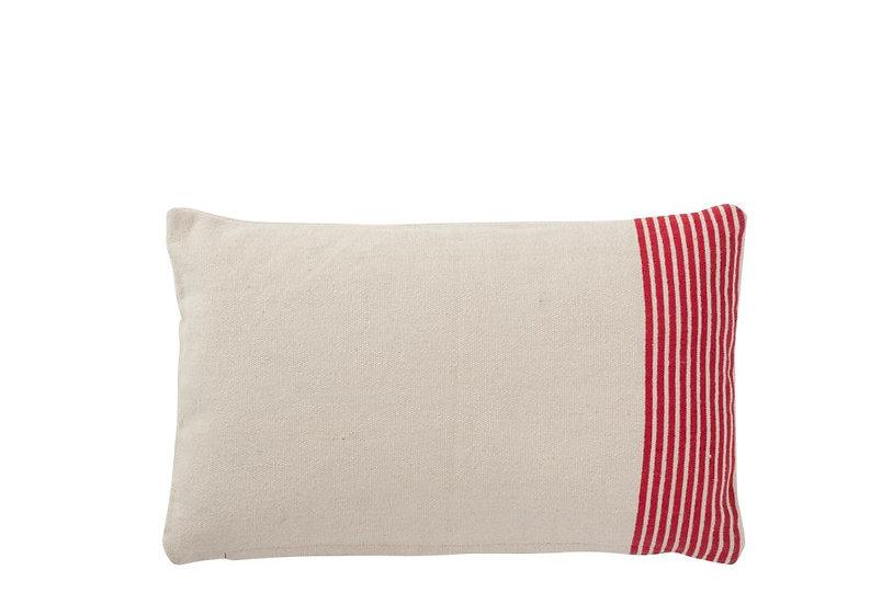 Kussen streep katoen wit/rood