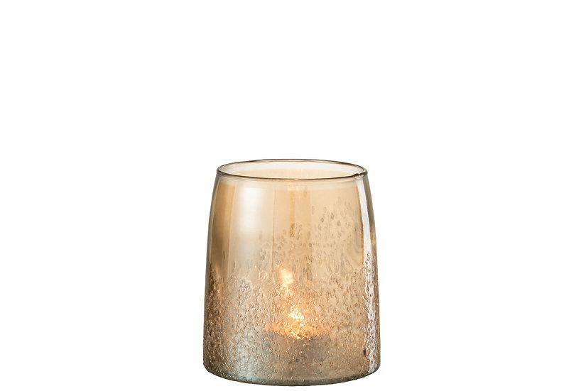 Windlicht amber glas goud large