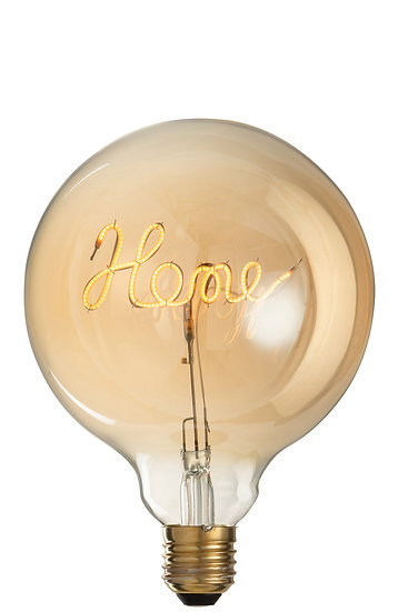 Ledlamp in doos home glas geel/goud e27
