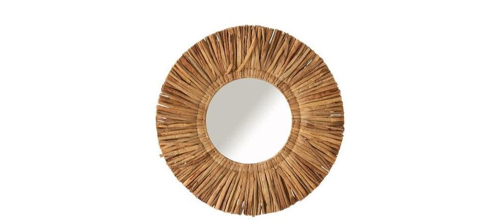 Spiegel maurice rond waterhyacint bruin small