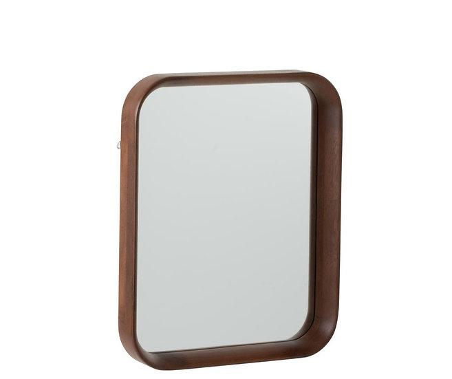 Spiegel rechthoekig hout/glas donkerbruin