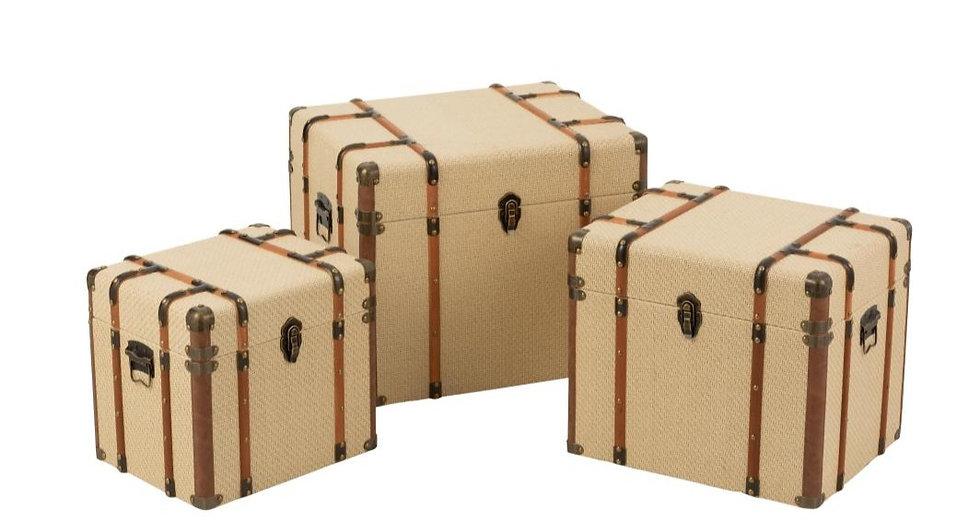 Set van 3 koffers mdf beige/bruin