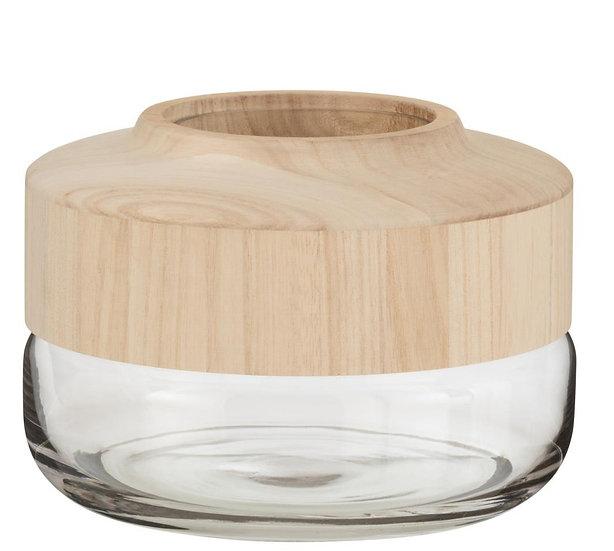 Vaas breed laag hout/glas lichtbruin