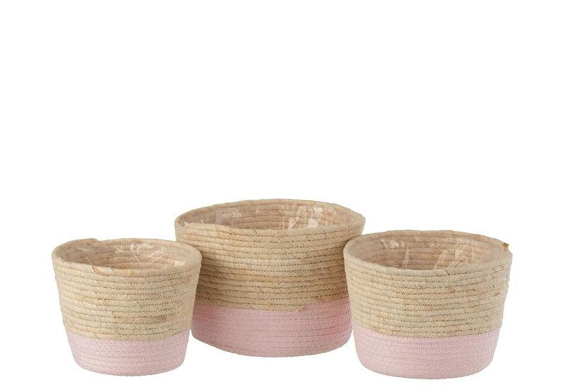 Set van 3 manden riet licht naturel/licht roze