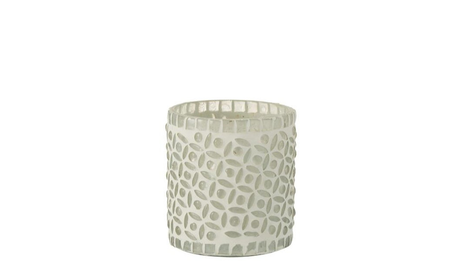 Theelichthouder patroon glas wit