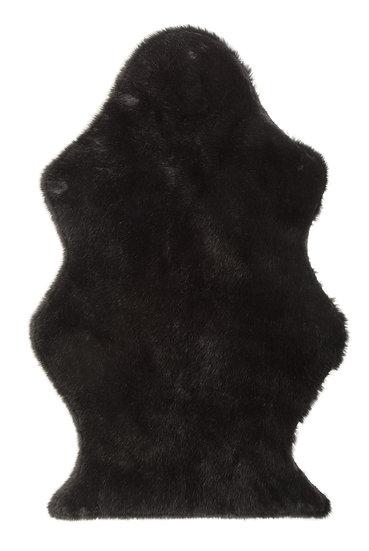 Vloermat schaap nepbont zwart