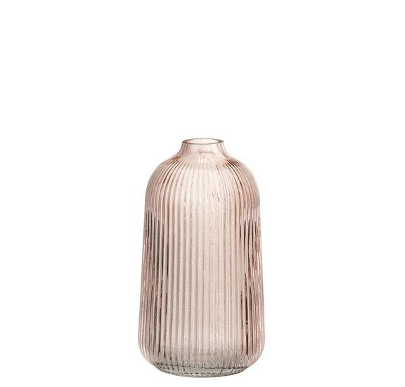 Vaas ribbels hoog glas roze