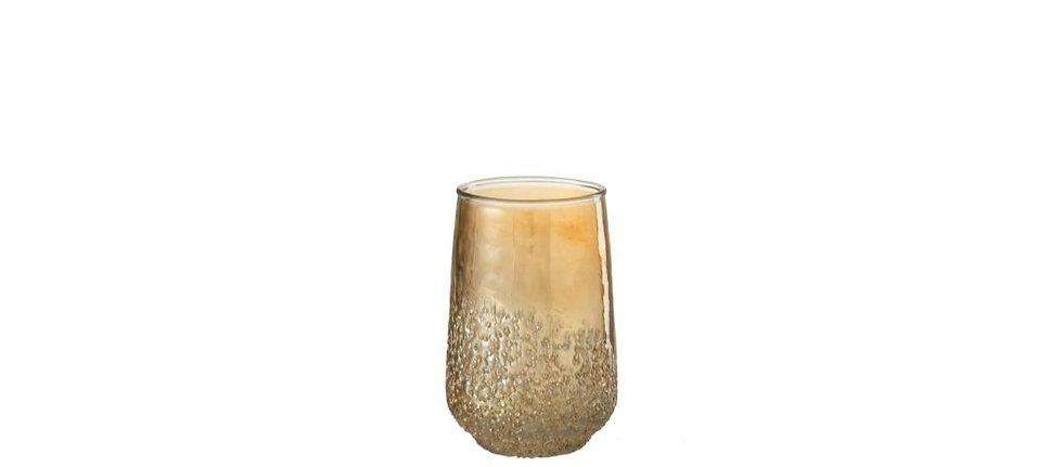 Theelichthouder amber glas goud small