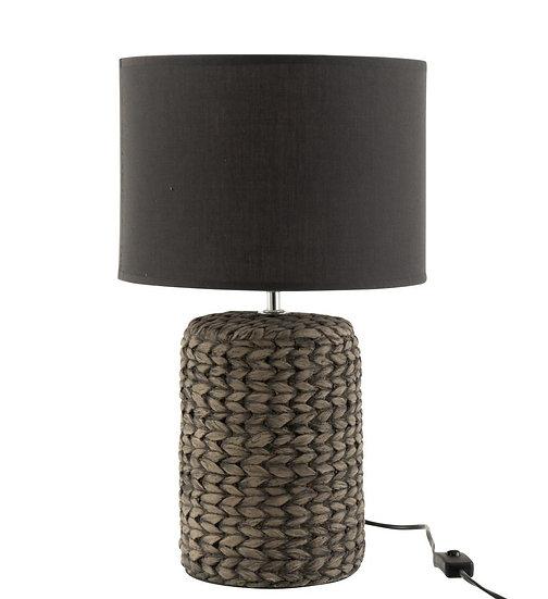 Lamp voet+kap dik vlecht beton/katoen wit small