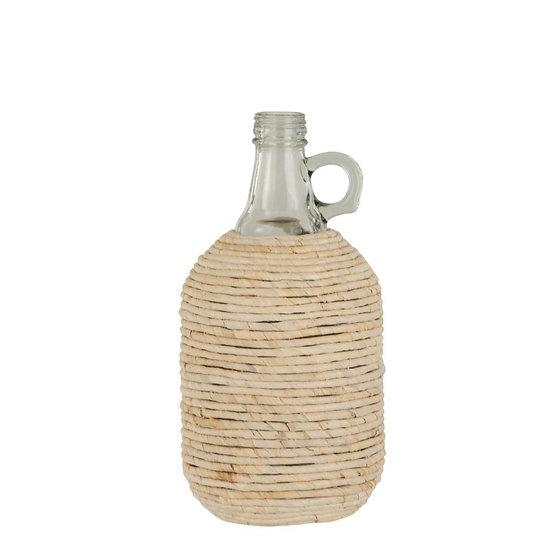 Fles met handvat bedekt gras/glas wit