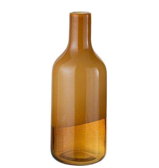 Vaas flesvorm half opaak glas oker