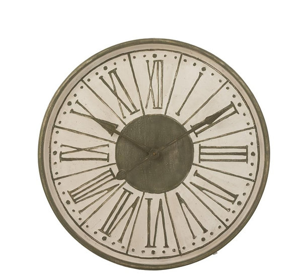 Klok romeinse cijfers rond metaal wit/khaki