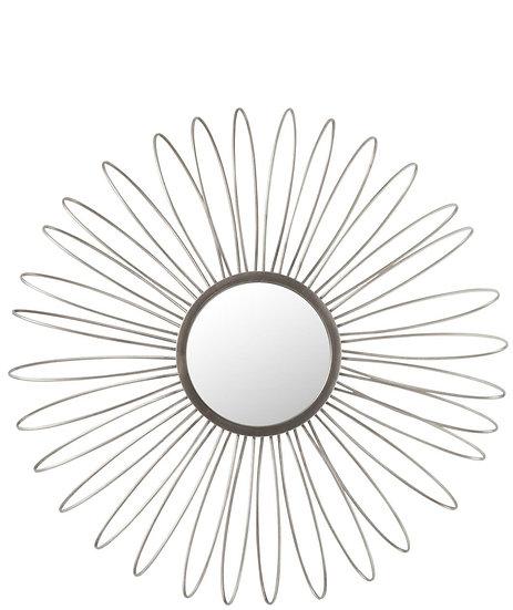 Spiegel+led rond metaal/glas zilver