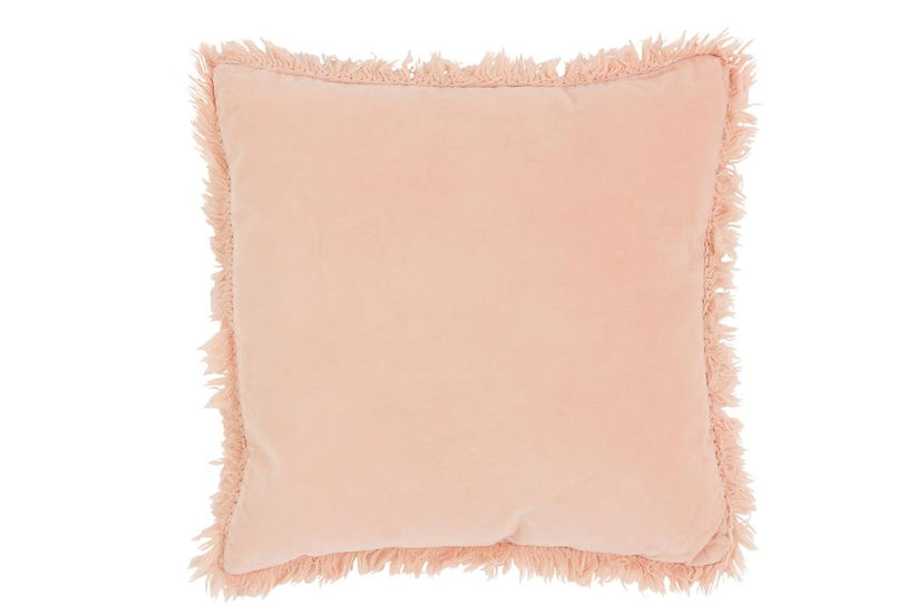 Kussen boord lang katoen/linnen roze