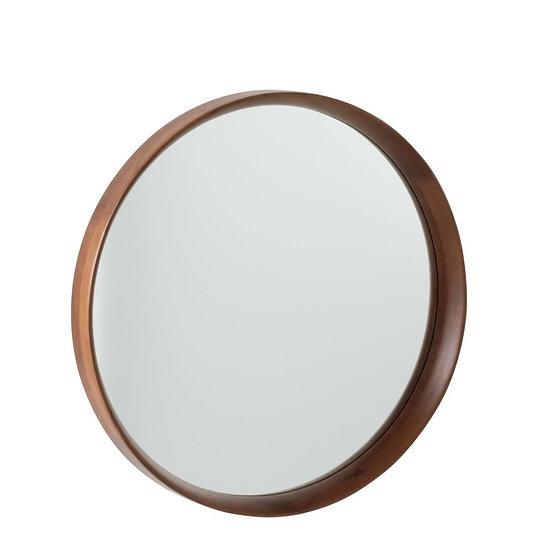 Spiegel rond hout/glas donkerbruin large