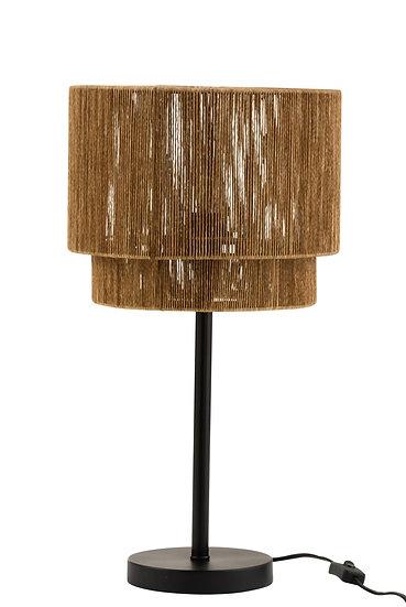 Tafellamp + lampenkap touw metaal zwart
