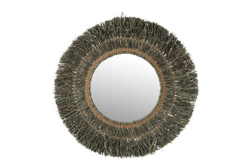 Spiegel hangend rond riet raffia grijs