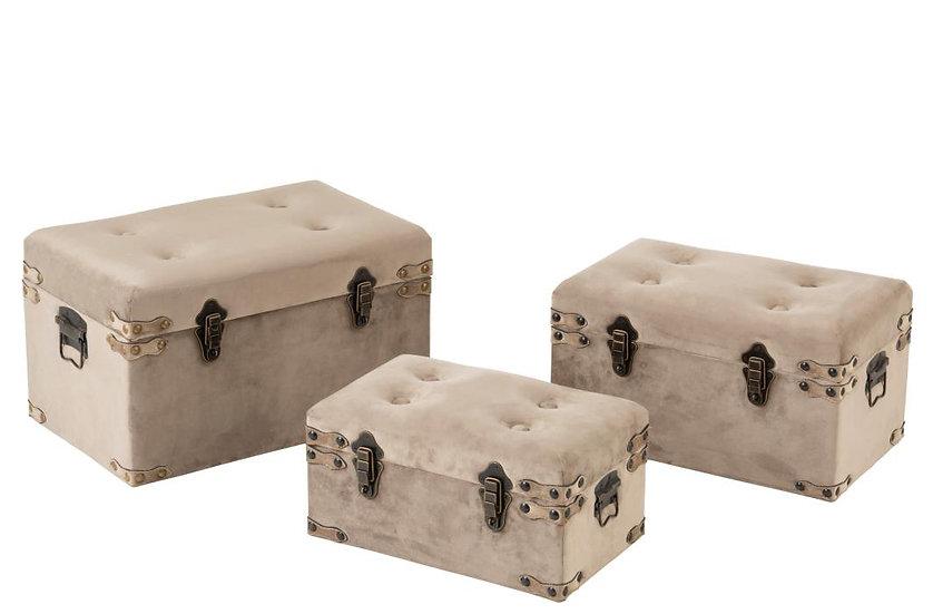 Set van 3 koffers velvet grijs