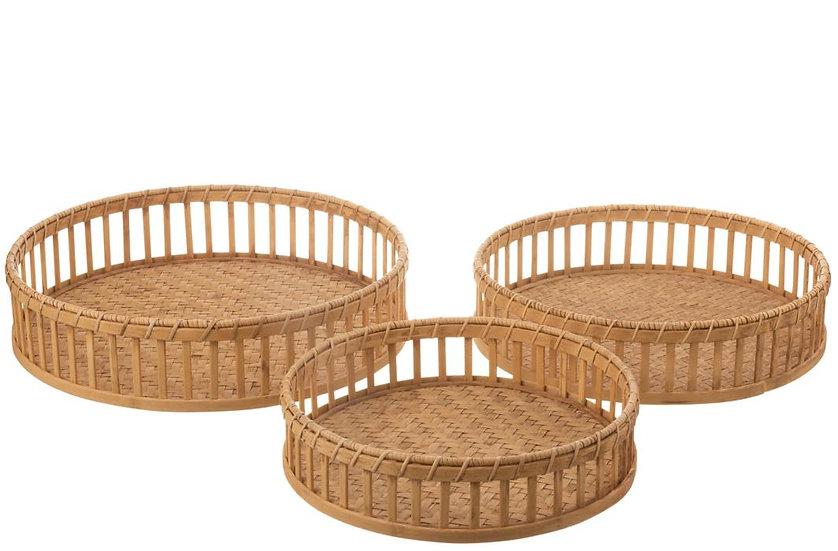 Set van 3 plateau rond bamboe naturel