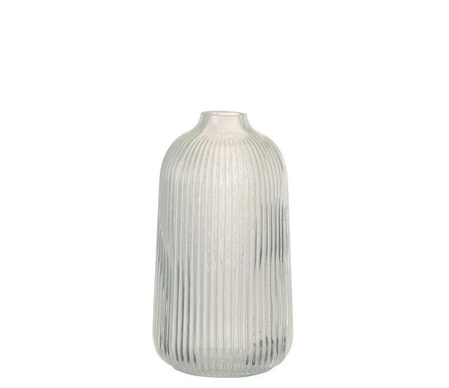 Vaas ribbels hoog glas wit