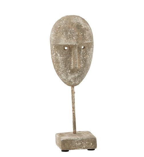 Beeld op voet gezicht cement grijs small