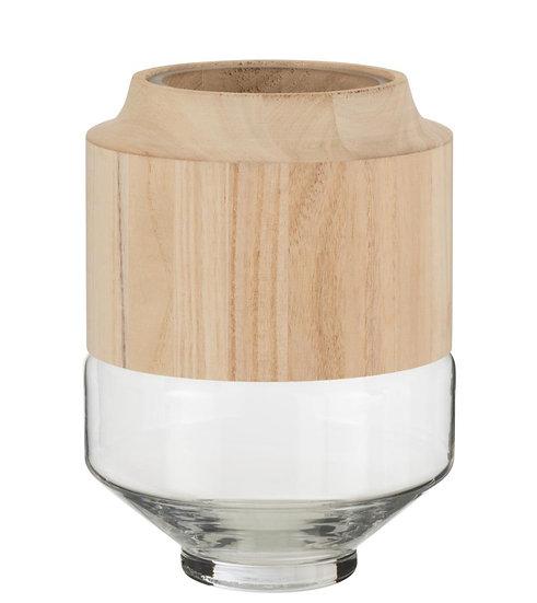 Vaas rond hoog hout/glas lichtbruin