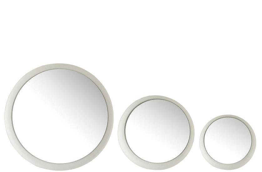 Set van 3 spiegels metaal mat wit