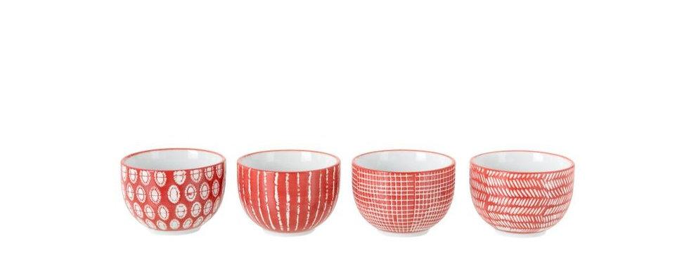 Doos van 4 kom print porselein rood/wit small
