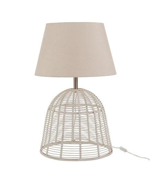 Lampvoet+kap spijlen bamboe wit small